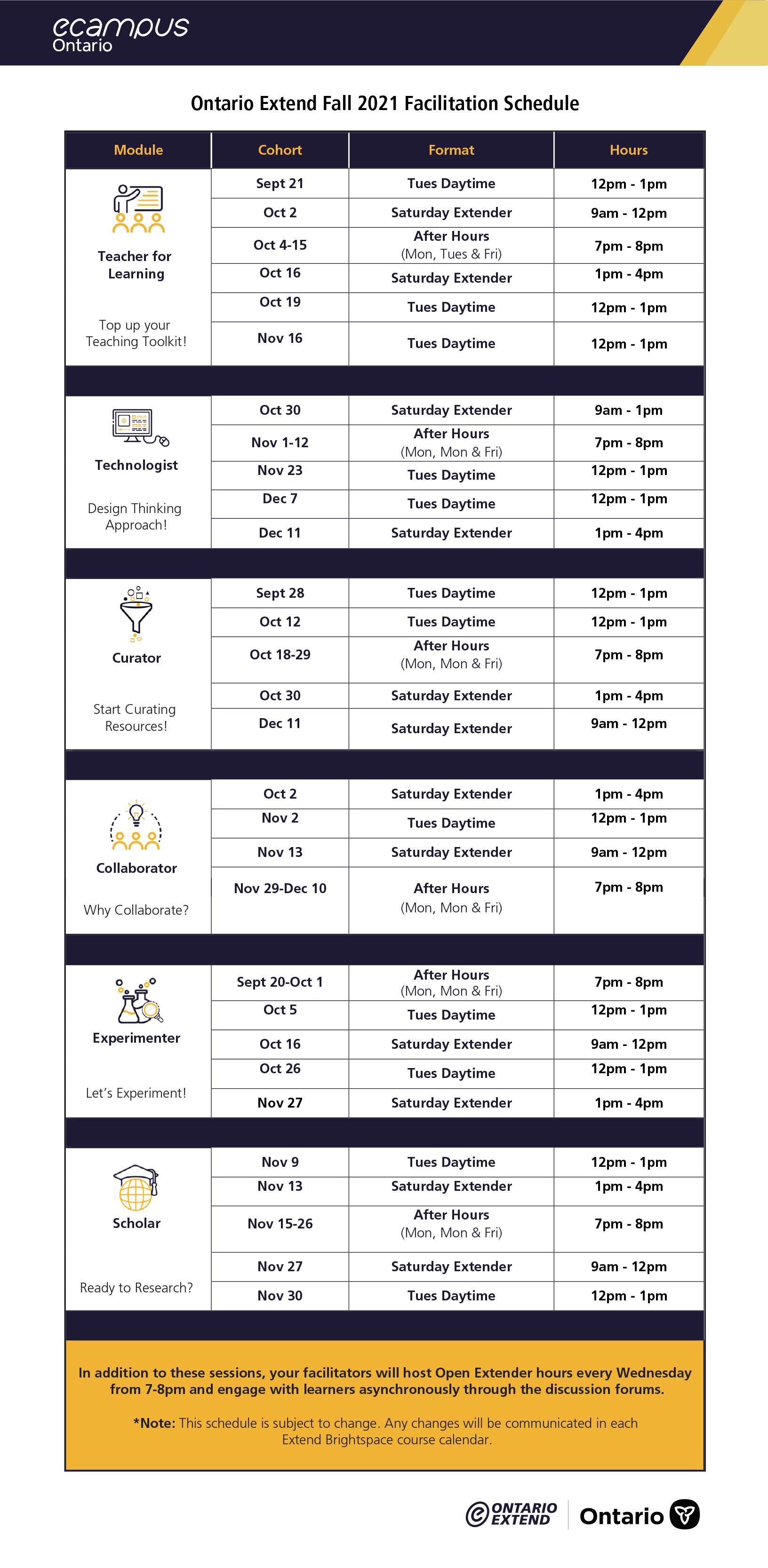 Ontario Extend Fall 2021 Facilitation Schedule