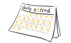 "Image of a calendar with the heading ""Daily Extend"" and X's in the boxes representing the months."
