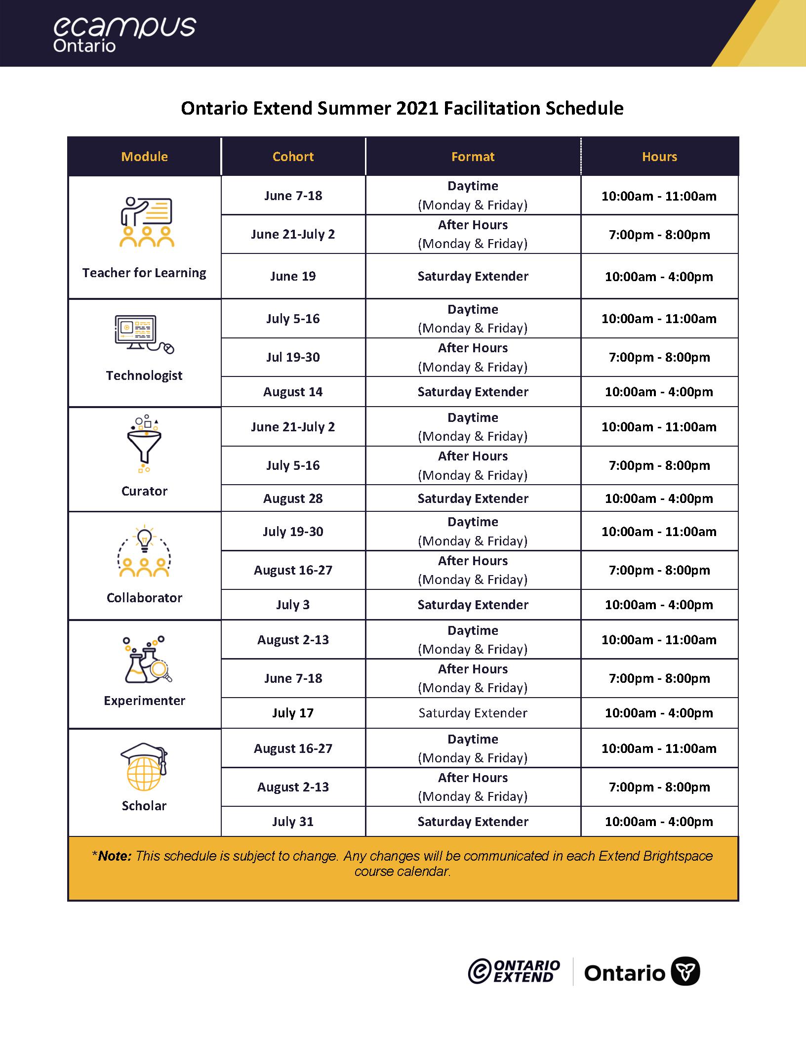 extend summer schedule