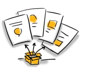 Carton relié à des feuilles de papier par des flèches illustrant les divers défis